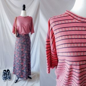 Pink coral oversized striped t-shirt 90s v…